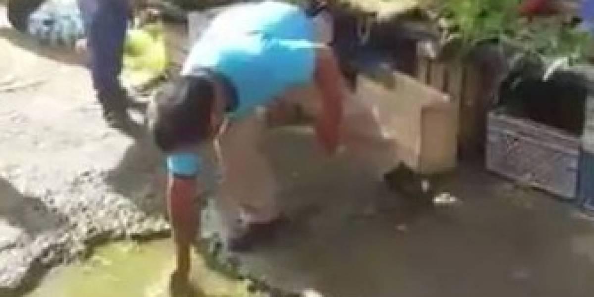 Viral: Sancionan a comerciante por lavar perejil en charco de Portoviejo