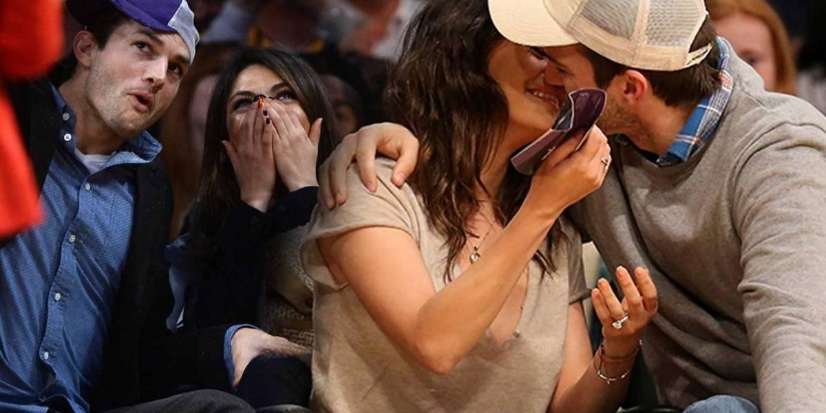 Ashton Kutcher y Mila Kunis protagonizan la Kiss Cam en pleno juego