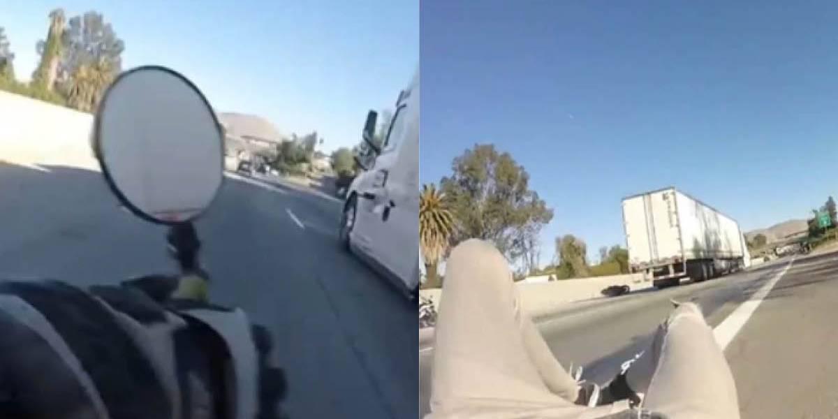 Motociclista atravesó un camión de 20 metros por debajo