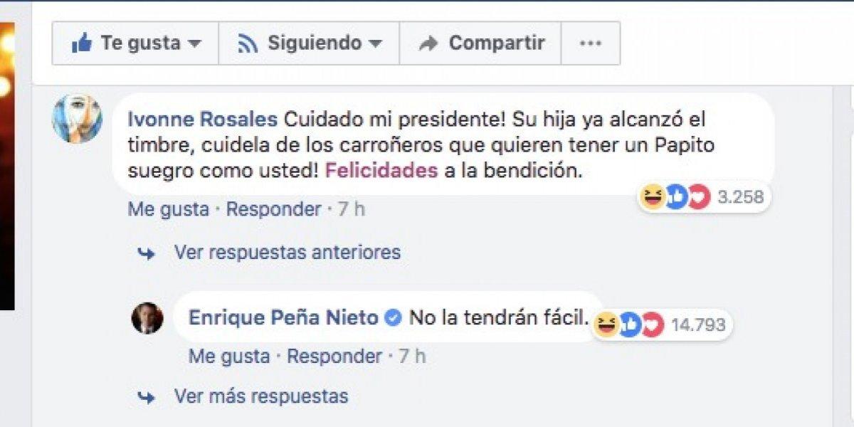 """Así responde Peña Nieto cuando le dicen que su hija """"ya alcanza el timbre"""""""