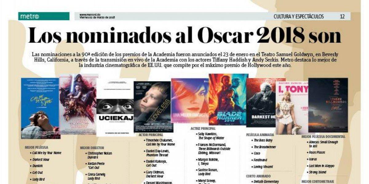 Los nominados al Oscar 2018 son