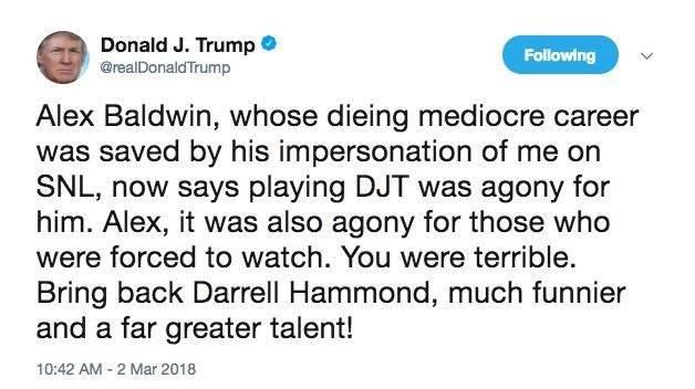Alec Baldwin es atacado por Donald Trump en Twitter