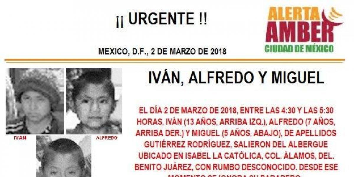Alerta AMBER: PGJ CDMX busca a tres niños que desaparecieron de un albergue