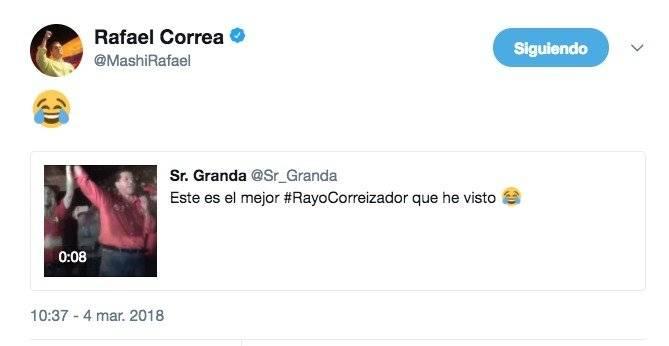 Rafael Correa reacciona ante la etiqueta de Twitter #RayoCorreizador