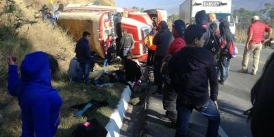 accidente de bus en ruta a Las Verapaces