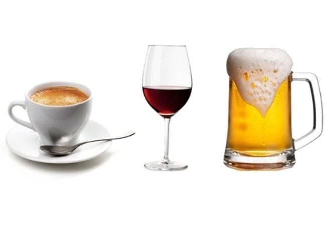 Café, cerveza y vino