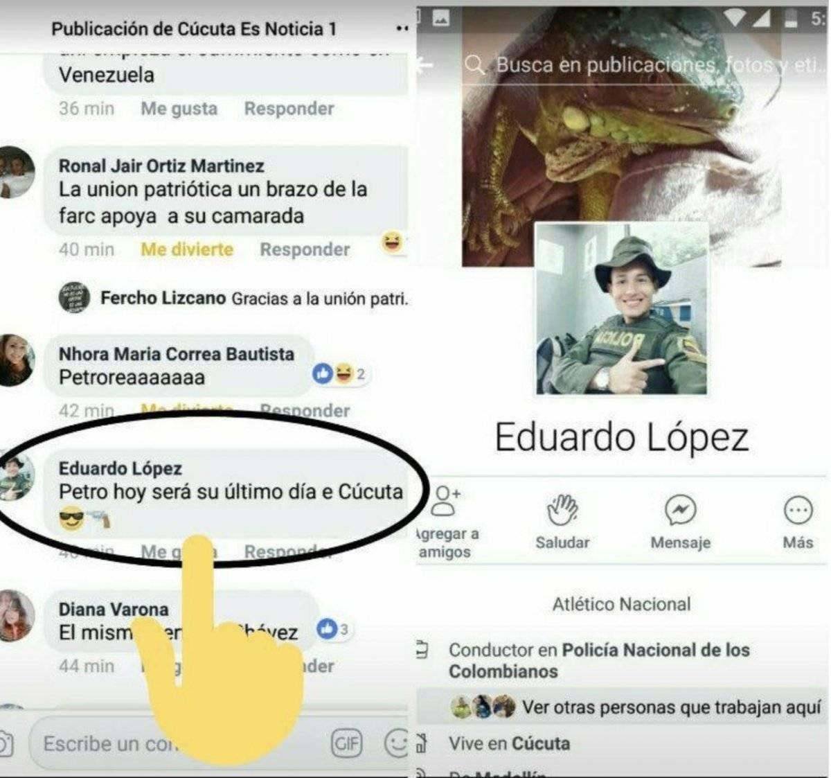Eduardo López, policía que amenazó a Petro