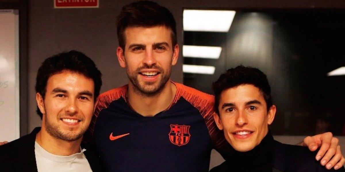 'Checo' Pérez se coló a los vestidores del Barcelona