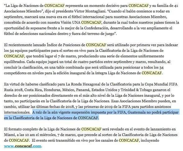 El comunicado enviado por parte de la Concacaf