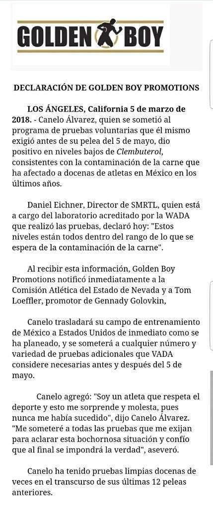 """Informe sobre el dopaje del """"Canelo"""""""