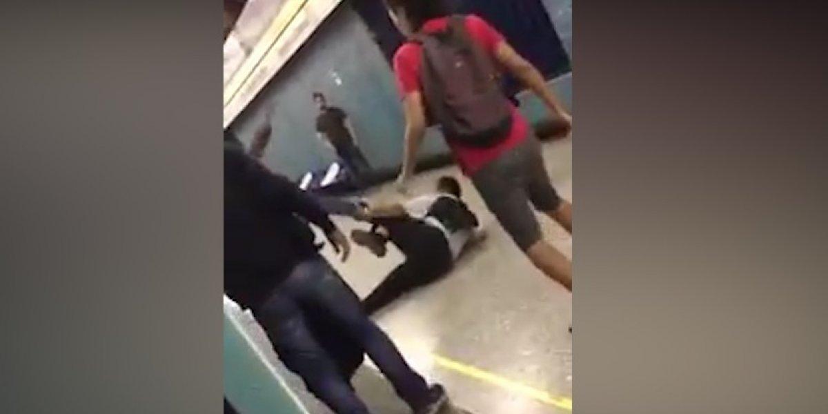 Brutal pelea en el Metro de Santiago