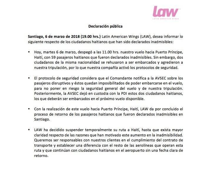 Declaración de LAW