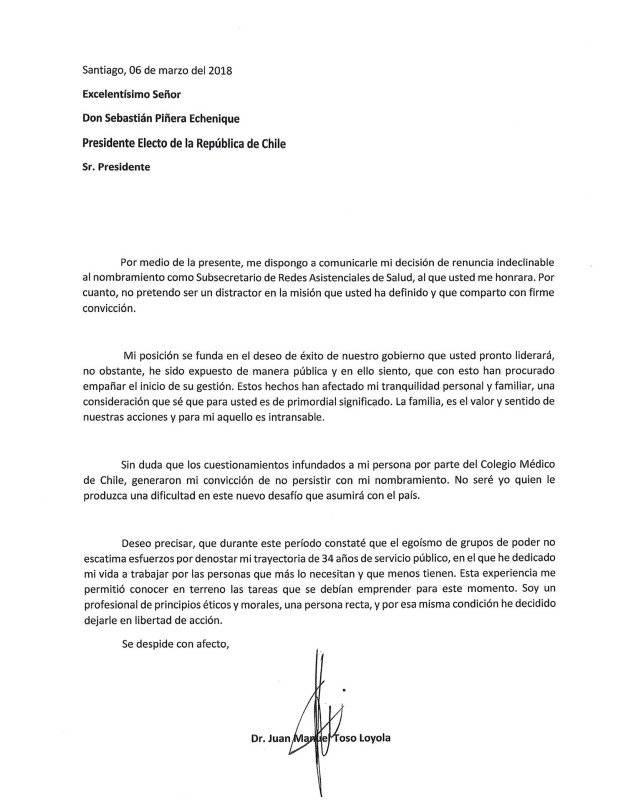 Toso renuncia a ocupar el cargo de subsecretario de Redes Asistenciales