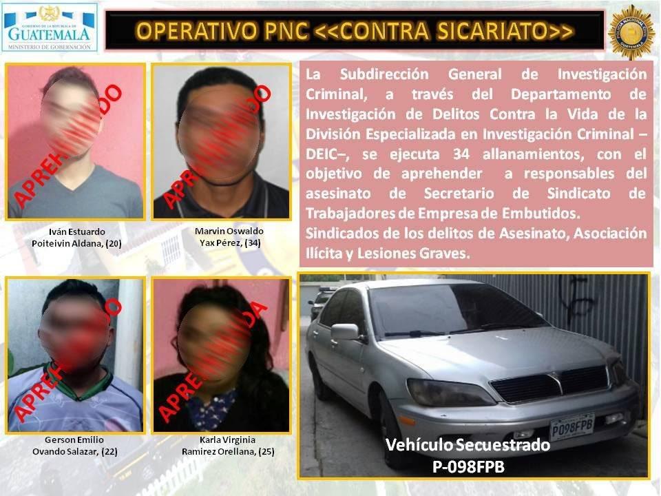 capturados por crimen de sindicalista Tomás Ochoa