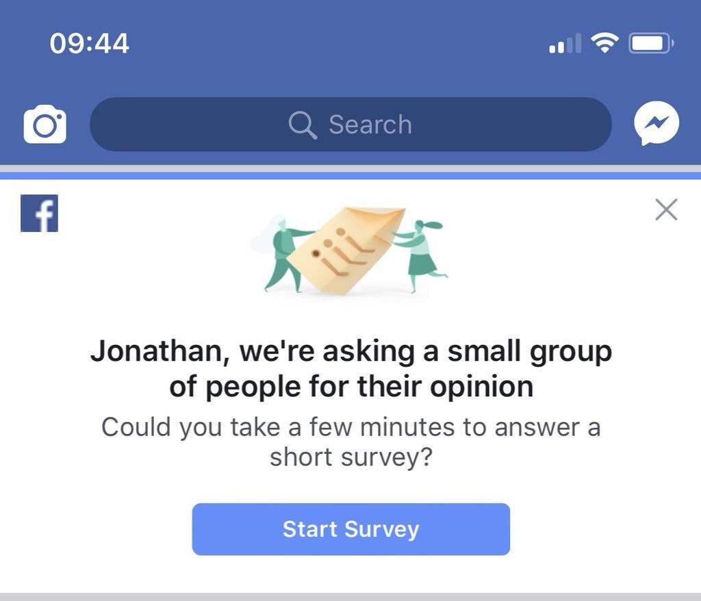 Facebook se disculpa por hacer una extraña pregunta en una encuesta