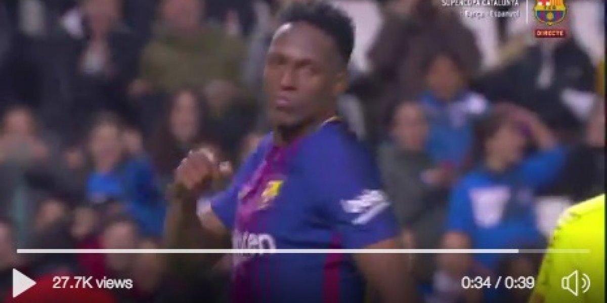 ¡Se sacó la sal! Yerry Mina jugó y marcó gol con el Barcelona