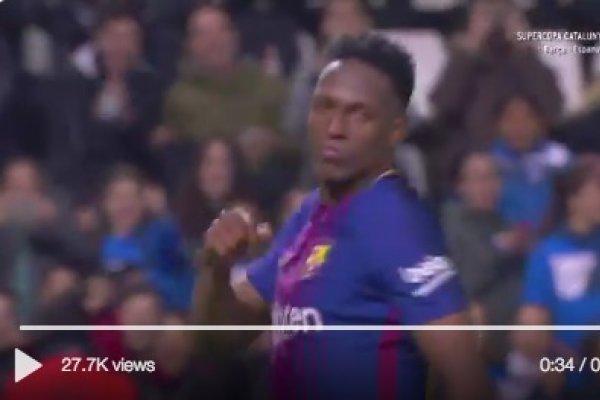 Primer gol de Yerry Mina con el Barcelona