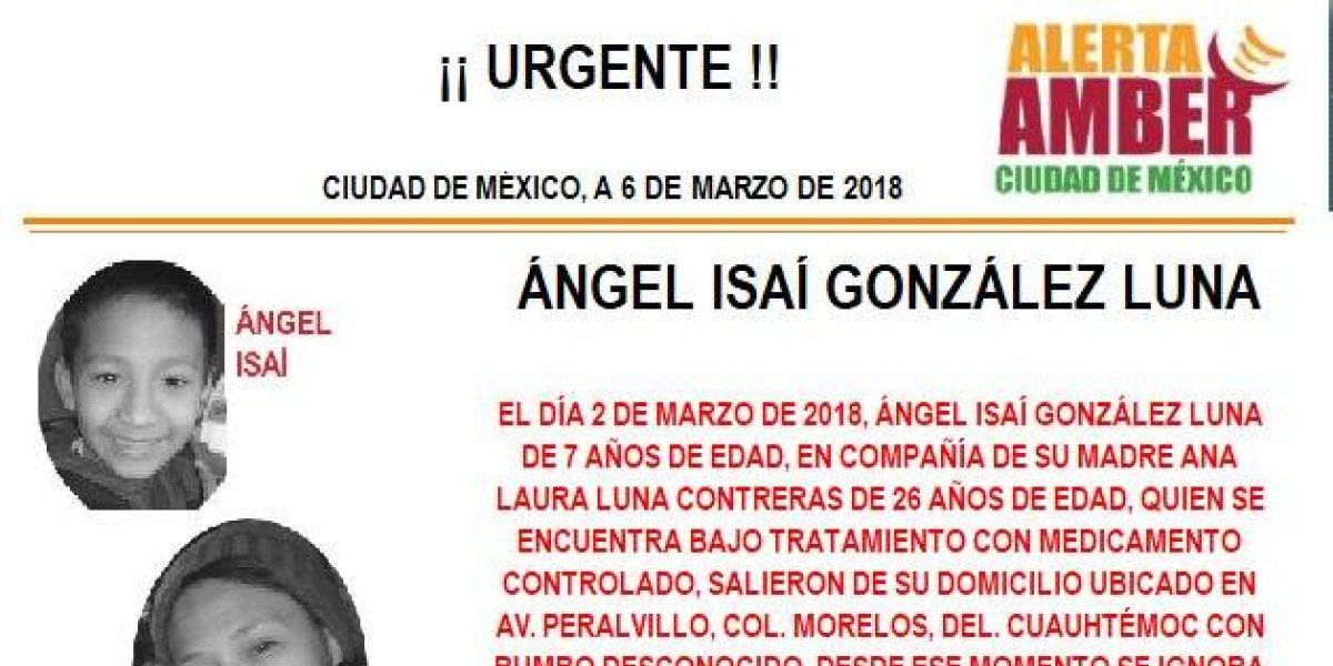 Alerta AMBER: PGJ CDMX busca a un niño que desapareció con su madre