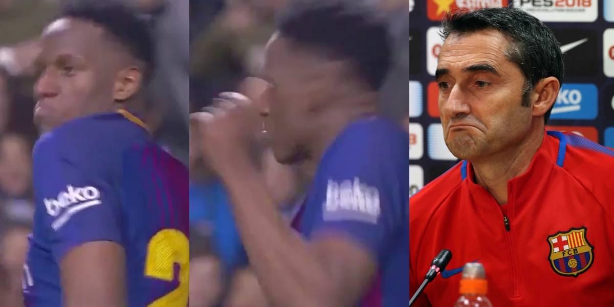 Reacción de Ernesto Valverde tras gol de Yerry Mina en Barcelona VS Espanyol