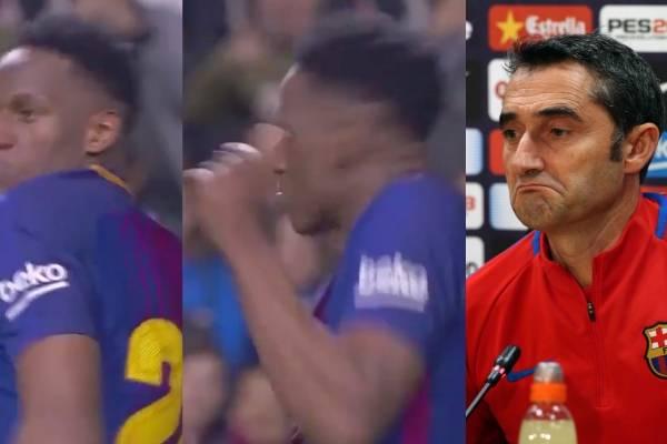 Reacción de Ernesto Valverde tras gol de Yerry Mina
