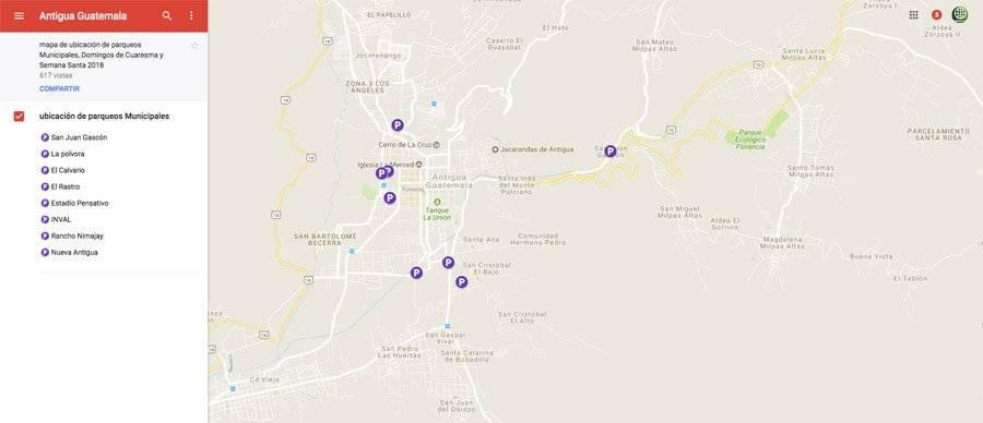 Mapa de parqueos en La Antigua