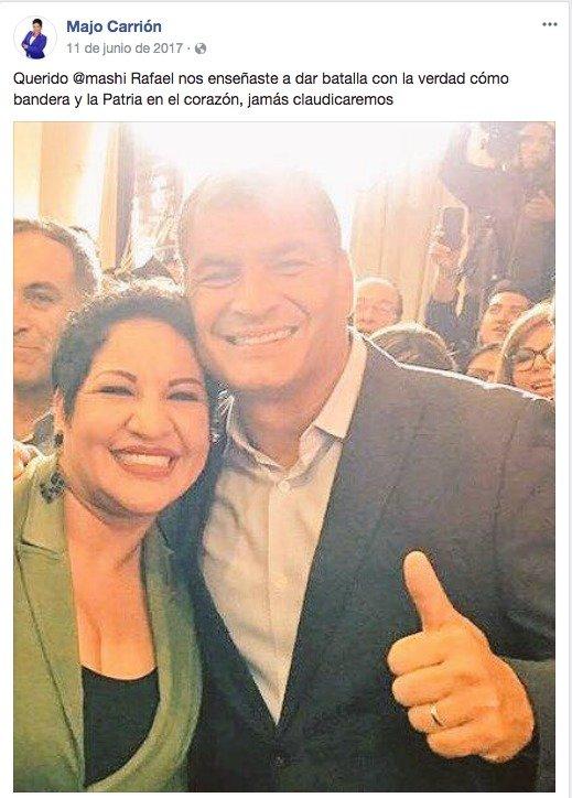 Correa se refiere a mensaje de asambleísta María José Carrión