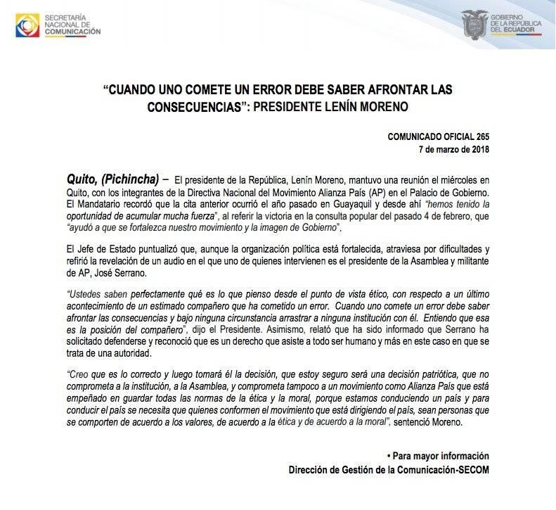 Lenín Moreno habla de audio de José Serrano y Carlos Pólit