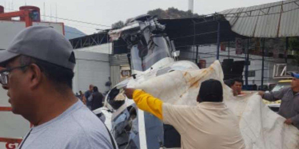 Desplome de helicóptero en San Juanico, Tlalnepantla, deja cinco lesionados