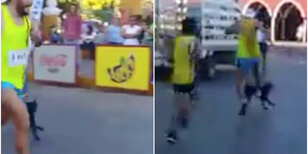 """""""Deportista"""" le dio maltrató a una perrita que lo seguía mientras corría el maratón"""