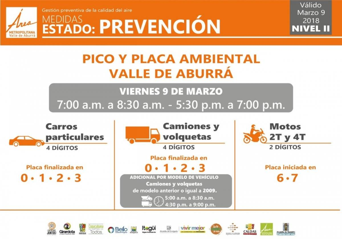 Pico y placa Viernes 9 de marzo Medellín 2018