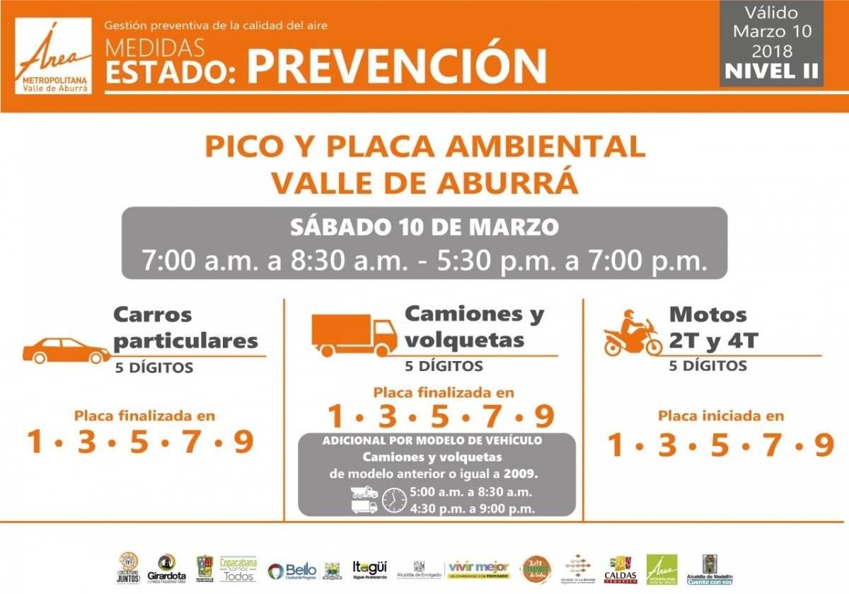 Pico y placa sábado 10 de marzo Medellín 2018