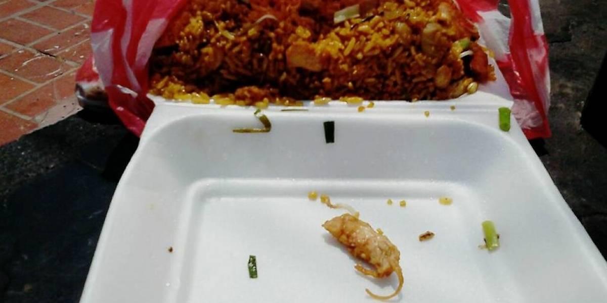 ¡Asqueroso! Denunciaron que encontraron un ratón rostizado en un arroz chino