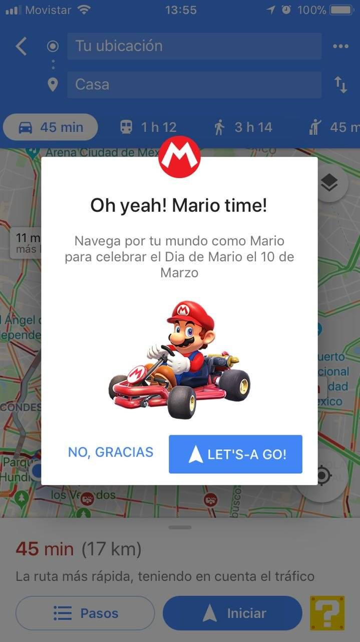 Mario Bros en Google Maps, en iOS
