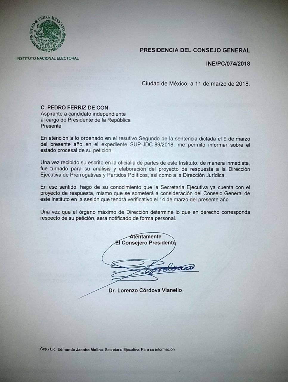 Documento del INE.