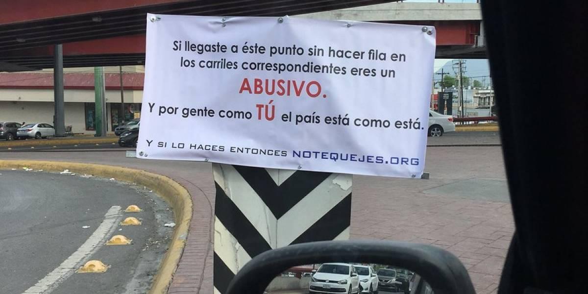 Hacen campaña contra automovilistas 'gandallas' en Monterrey