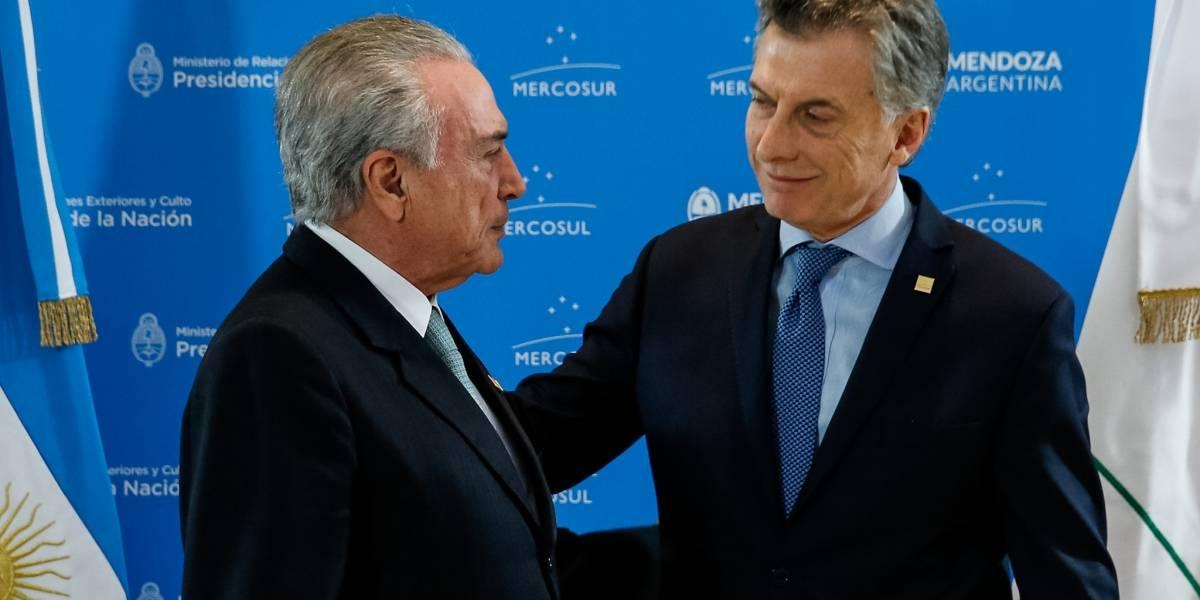 Temer e Macri conversam sobre acordo entre Mercosul e União Europeia