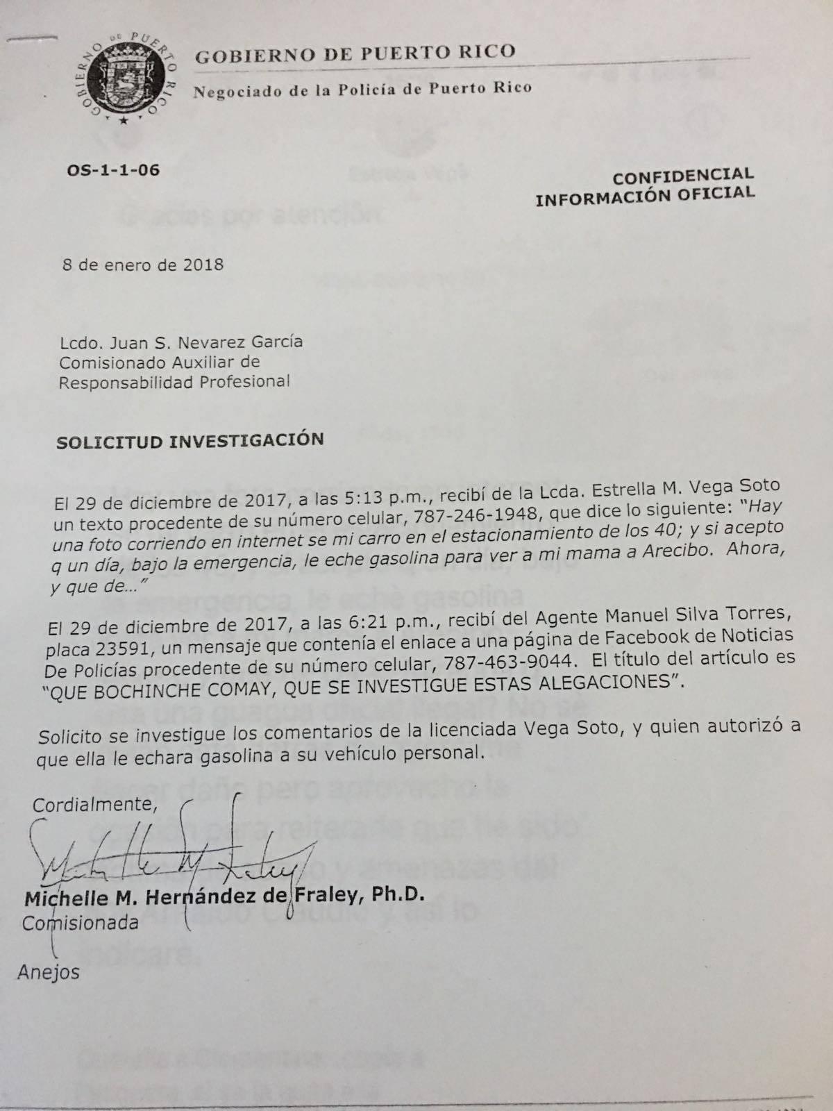 Cartas enviadas por Michelle Hernández solicitando una investigación sobre la asesora legal de la Policía.