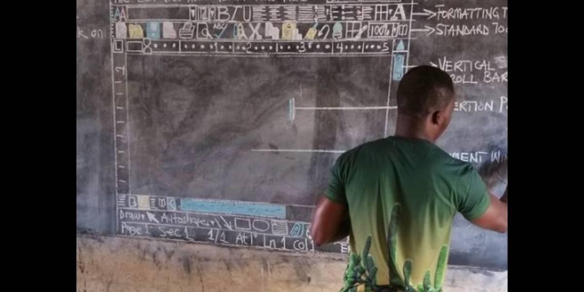 Microsoft da equipo a profesor de Ghana que enseña Word en pizarrón y gis