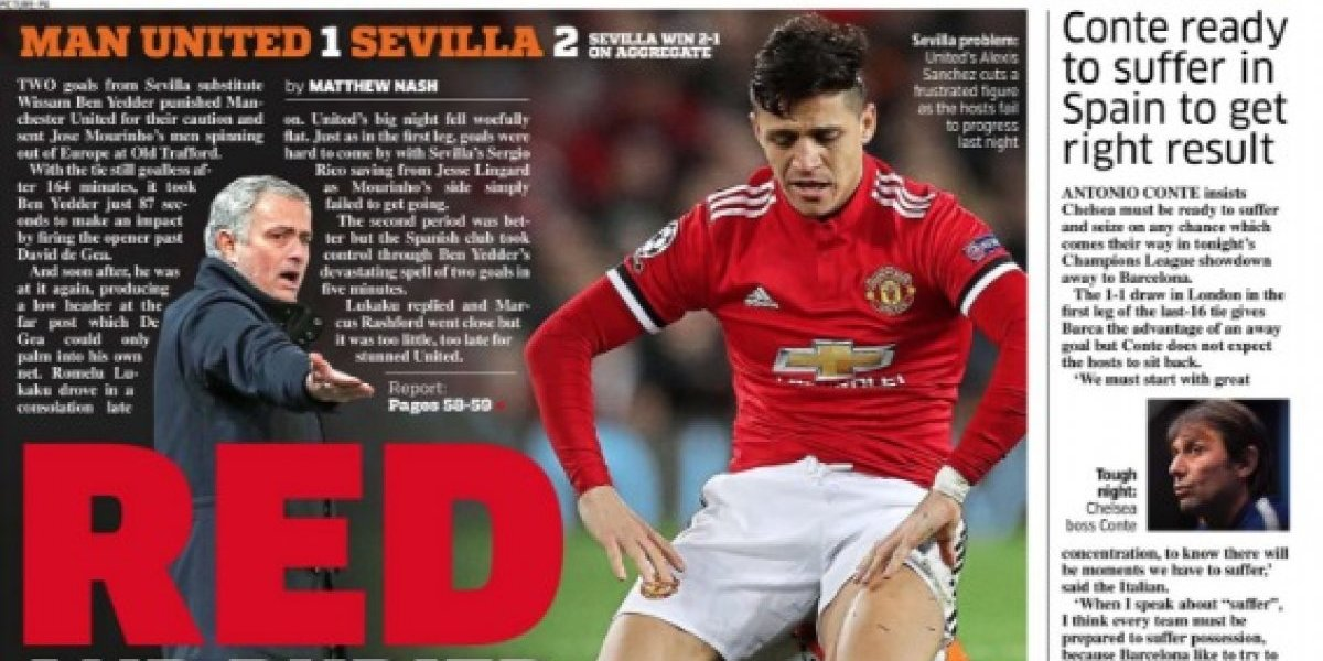 """""""Caras rojas"""": Las portadas de Inglaterra tuvieron a Alexis como protagonista tras la vergonzosa eliminación del United"""