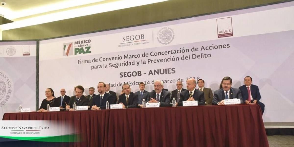 Segob y universidades del país firman acuerdo para mejorar su seguridad