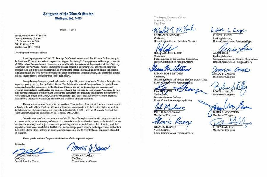 Carta de congresistas