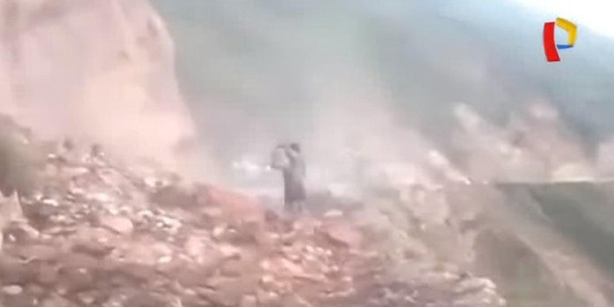 VÍDEO: Mulher morre ao tentar gravar desmoronamento de montanha no Peru