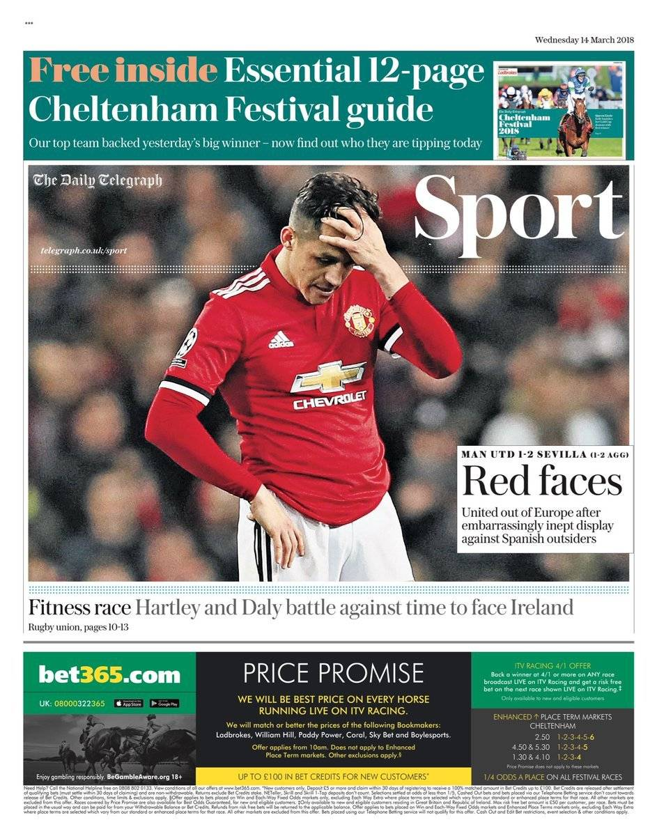 La prensa británica graficó la eliminación del United con la cara de Alexis Sánchez