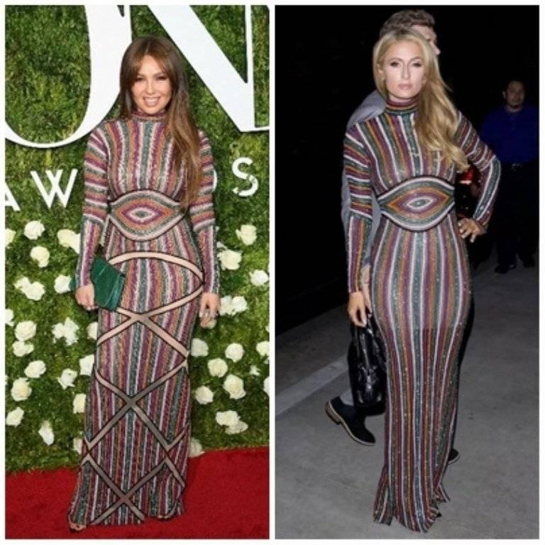 Thalia y Paris Hilton usan mismo vestido