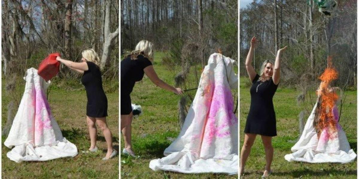 Mulher taca fogo em vestido de noiva após traição