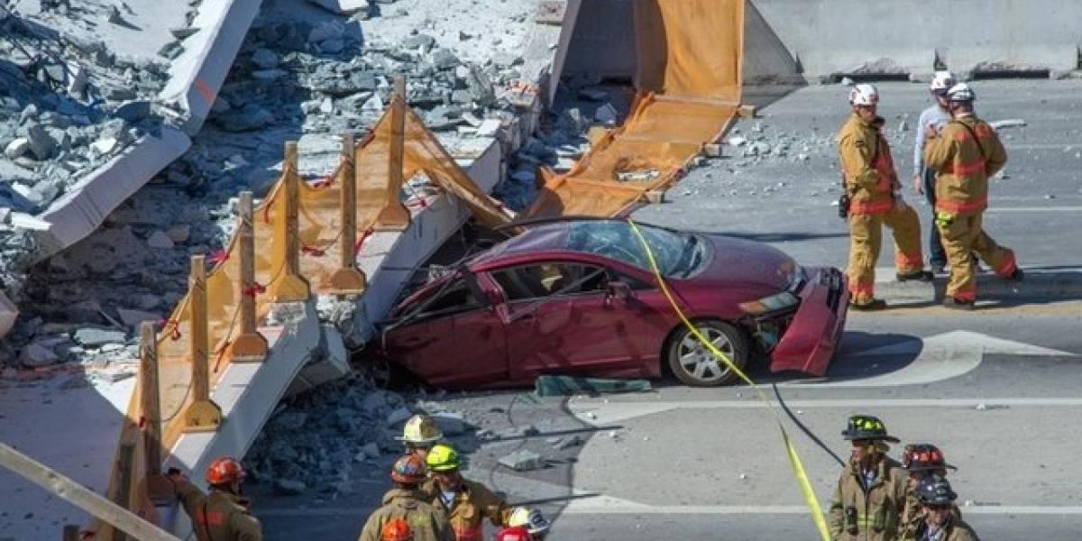 Reportan varios muertos y heridos al caer un puente peatonal en Miami