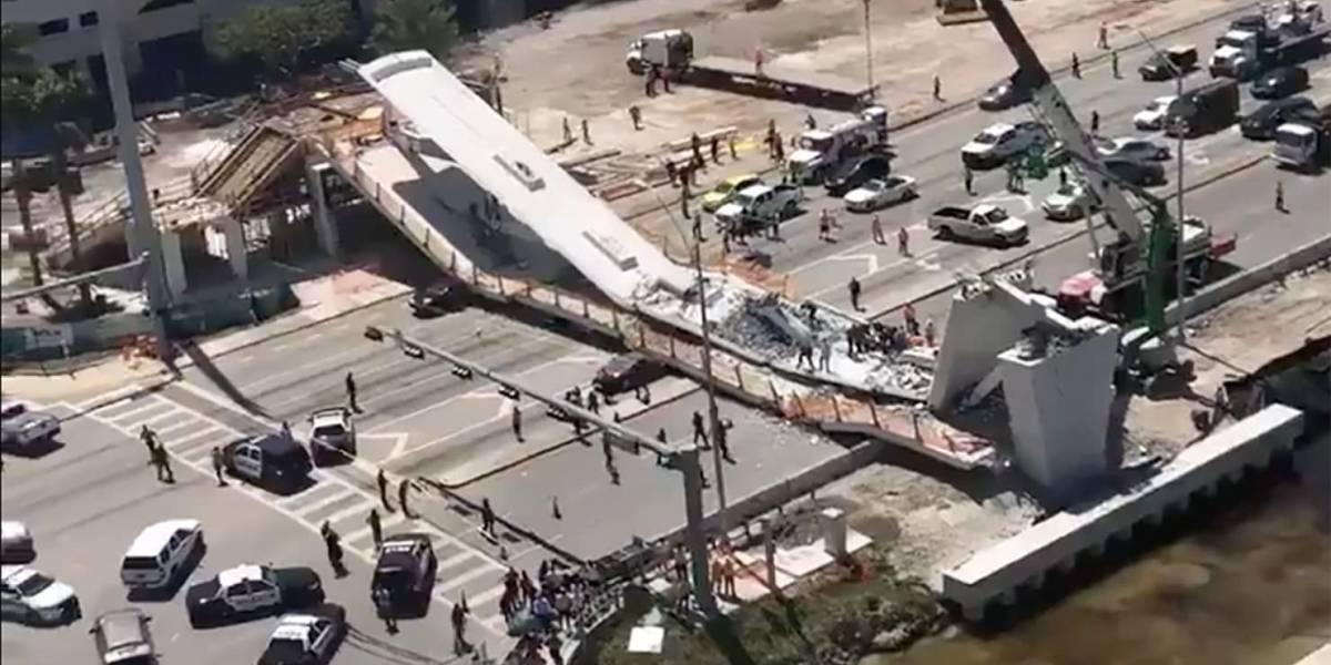 Varios muertos al derrumbarse puente para peatones sobre carretera de Miami