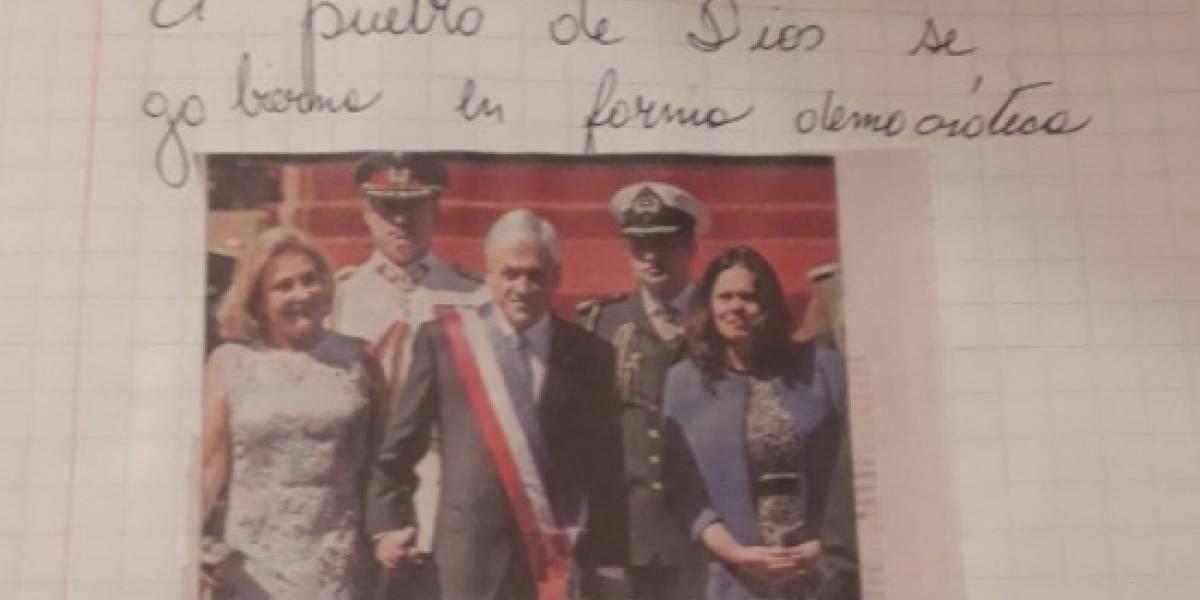 """El """"pueblo de Dios"""" y una foto de Piñera: los detalles de la tarea de su hijo que molestaron a una mujer y desató polémica en Twitter"""