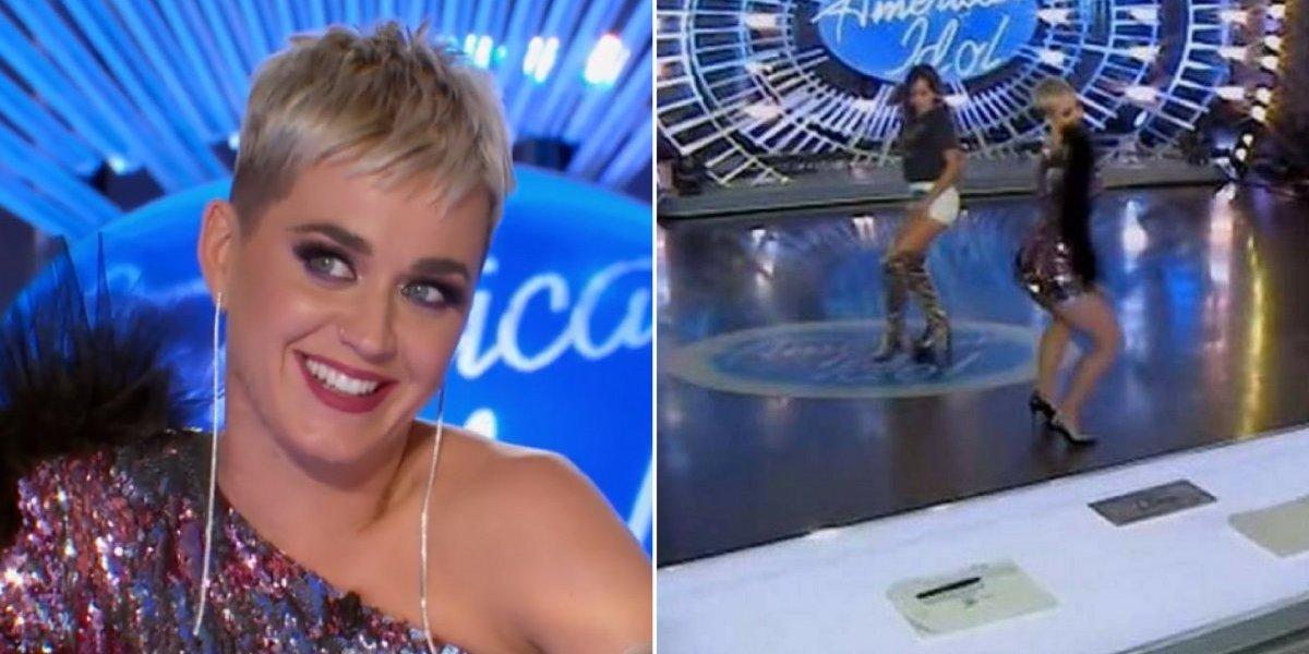 Katy Perry cai ao tentar rebolar com participante do American Idol e vídeo faz sucesso nas redes sociais