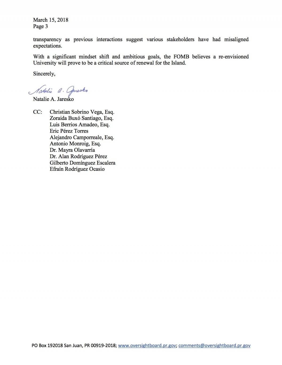 Carta enviada a la JCF a la UPR.